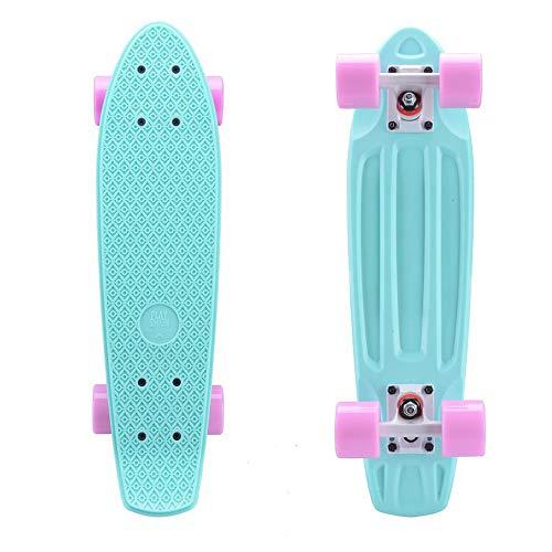 """YWX Pastello Mini 22""""di Skateboard Cruiser Penny Consiglio Skateboard Retro Longboard Completo di Plastica Scooter,Verde"""