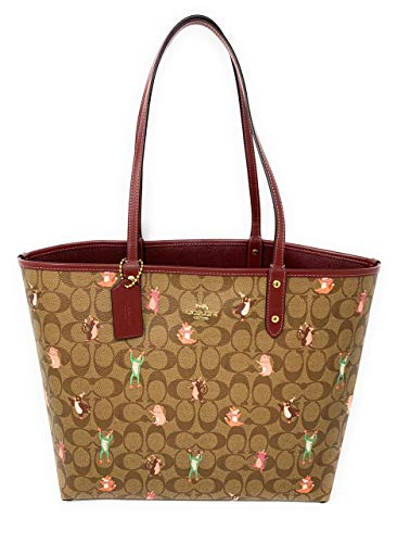 COACH Signature Interactive Party Animal Print Reversible City Tote Khaki Pink Multi Wine One Size