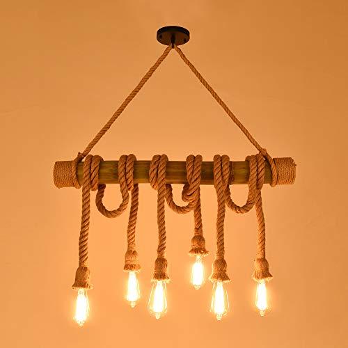 Seil Deckenleuchte Rustikale Beleuchtung - Retro Hanf Seil Pendelleuchte 6 Kopf Kronleuchter Bambus E27 Leuchte
