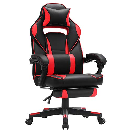 SONGMICS Racing Gaming Chair, Adjustable Ergonomic Office Chair with Footrest, Tilt Mechanism, Lumbar Support, 330 lb Load, Black and Red UOBG073B01