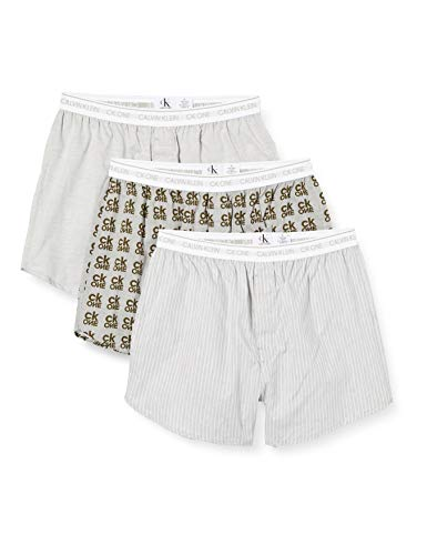 Calvin Klein Herren Slim Fit Boxer 3pk Boxershorts, Grau (Cozy Stripe/Grey Heather/Ck One Logo Cvm), Medium