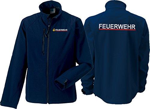 feuer1 Softshelljacke Navy, BaWü mit Stauferlöwe nach VwV, Feuerwehr Silber mit rotem Streifen hinten