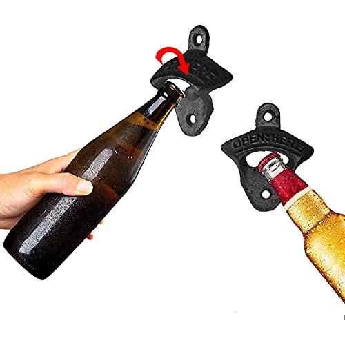 Abrebotellas Montado En La Pared Del Hierro Fundido De 2 Piezas Abridor De Cerveza Vintage Adecuado Para Bares KTV Hoteles Casas Negro black