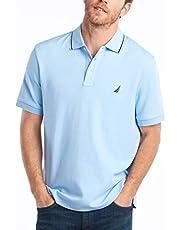 قميص بولو كلاسيكي للرجال باكمام قصيرة وياقة بخطين من نوتيكا
