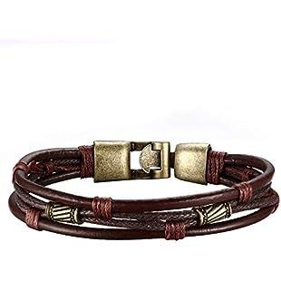xinxun Retro Men's Bracelet, Mens Tribal Cowhide Braided Multi-Layer Rope Bracelet, Brown