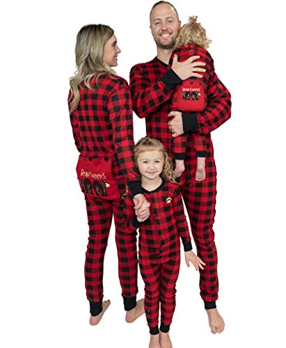 Lazy One Flapjacks, Matching Pajamas for The Dog, Baby & Kids, Teens, and Adults (Plaid Bear Cheeks, Small)