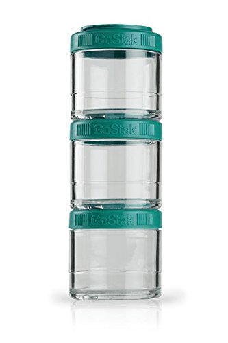 BlenderBottle GoStak container for storing protein, protein, powder, vitamins and more - 3-pack (3x100ml), Teal