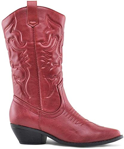 Soda Women Cowgirl Cowboy Western Stitched Boots Pointy Toe Knee High Reno-S red Size: 6.5 UK