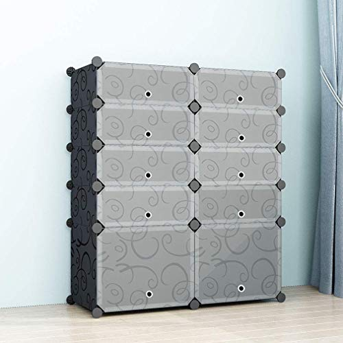 SIMPDIY Schuhregal Kunststoff, Schuhschrank groß, DIY Regalsystem mit Türen, Schuhablage Regale für Schuhe, Einfache Installation, Kommt mit einem Hammer - Schwarz (2x5 Würfel, 93x37x108cm)