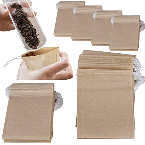 NEPAK 600 Pcs Teebeutel Einweg-Teefilterbeutel Natürliches ungebleichtes Papier Kordelzug Leere Teebeutel für losen Tee und Kaffee (7 x 9 cm)