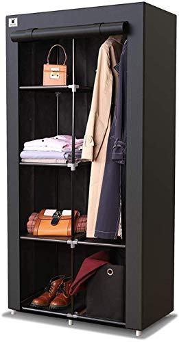 Armario de lona portátil con barra para colgar y cajón cúbico (1 unidad incluida), ideal para almacenamiento organizador de dormitorio, mueble (individual, negro), 88 x 45 x 170 cm