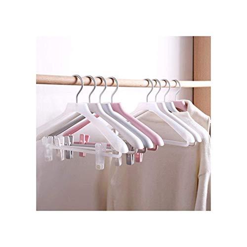 ZHANG 5 Pezzi 38 Cm Appendiabiti in Plastica Spalla Larga Appendiabiti Senza Cuciture Cappotto Perfetto Camicetta Maglione Porta Pantaloni con Clip,White