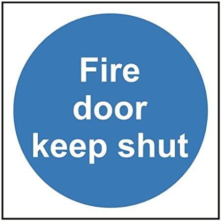 2 x Fire door keep locked shut self-adhesive vinyl safety sign 100x100mm FreeP/&P