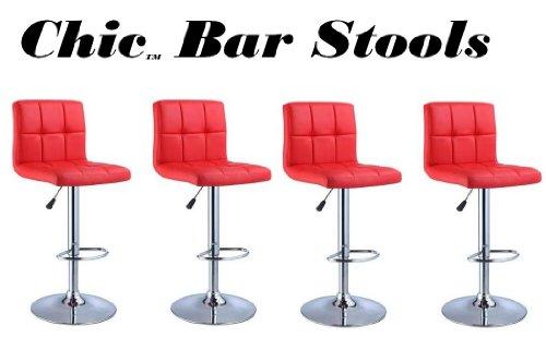 Red Adjustable Bar Stools - 7