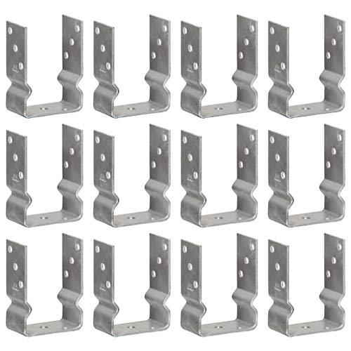 vidaXL 12x Pfostenträger U-Form Pfostenlasche U-Pfostenträger zum aufdübeln mit Sicke Feuerverzinkt Silbern 10x6x15cm Verzinkter Stahl