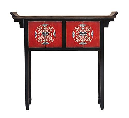 Fine Asianliving Tibetaanse Sidetable Zwart Met Details B102xD30xH95cm