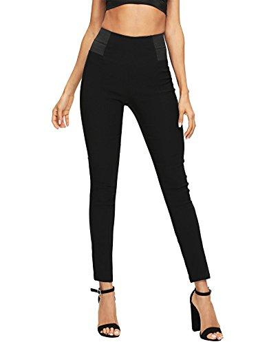 SweatyRocks Women's Casual Leggings Stretchy High Waist Work Pants Black Large.