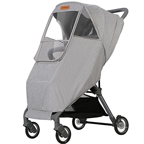 newyoo Stroller Rain Cover Waterproof Breathable Universal Stroller Weather Shield with Rainproof Windproof Nano-Coating Elastic Band Large Window Gray