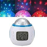 Pomya Lámpara de proyección Star Sky, Reloj Despertador Digital multifunción Calendario Termómetro LED Proyector Star Sky Música Luz Nocturna para niños Habitación para bebés