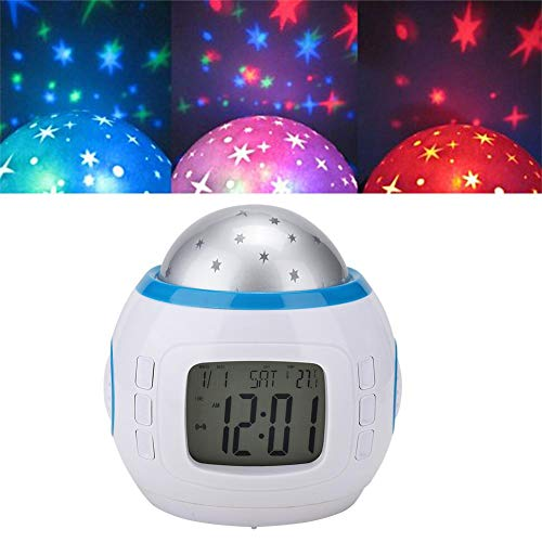 Pomya Star Sky projectielamp, multifunctionele digitale wekker kalender thermometer LED Star Sky Projector muziek nachtlampje voor kinderen babykamer