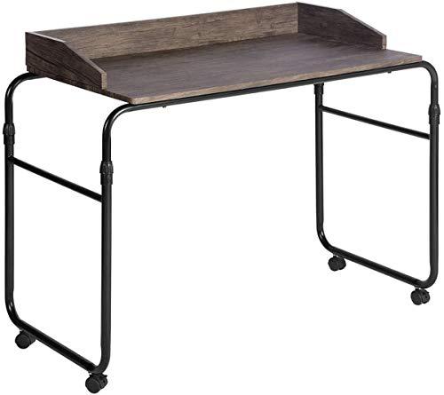 Mueble Coy para Ordenador de Trabajo de Madera y Acero, Mesa de Escritorio portátil, Altura Ajustable, Ruedas de Soporte, Color marrón Oscuro, 110 x 55 x 70 – 91,5 cm
