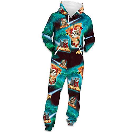 Herren Weihnachten Jumpsuit Jogger, Morbuy Unisex Herren Kapuzenpullover Strampelanzug 3D Geometrie Printed Onepiece Sweatshirt Männer Strampler Weich Nachtwäsche Bekleidung (XL,Pizza-Katze)
