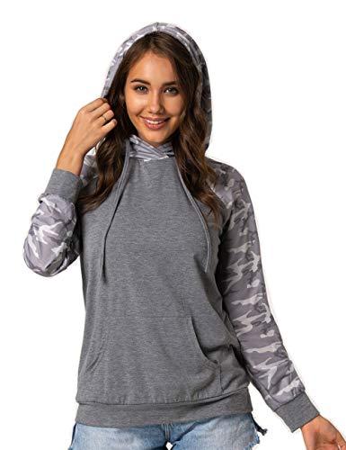 Damen Sport-Sweatshirt mit Kapuze, Pullover, Sweater, Langarm, bedruckt, Camouflage mit Taschen Gr. 42, grau