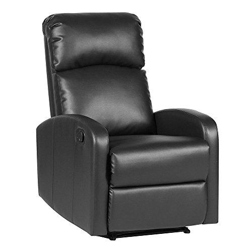 SVITA LEX Relaxsessel Fernsehsessel Ruhesessel mit Verstellbarer Beinablage und Liege-Funktion – Kunstleder Farbwahl (Schwarz)