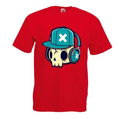lepni.me Maglietta da Uomo The DJ! (Medium Rosso Multicolore)