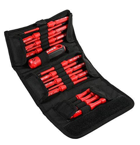 ARES 19002-18-Piece Interchangeable Insulated Electrical Screwdriver Set - Ergonomic Handle with 12 Screwdriver Sizes and 4 Cabinet Keys - Storage Pouch Included