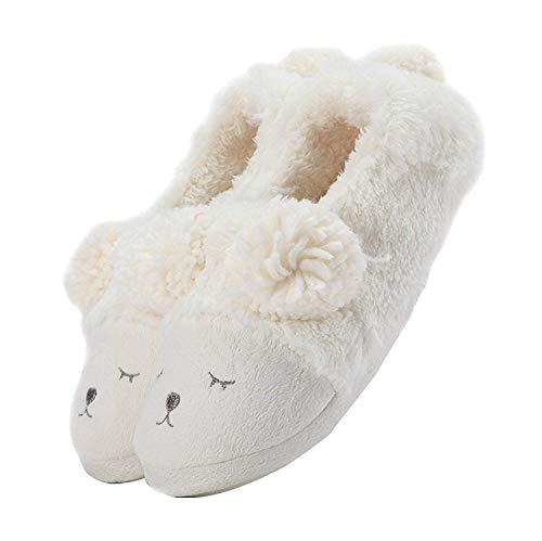 LANFIRE Damen Mädchen Schaf Warme Plüsch Schuhe Weiche Sohle Indoor Home Fuzzy Lamm Hausschuhe Tier Cartoon Hausschuhe (36-37 EU, White(Shoes))