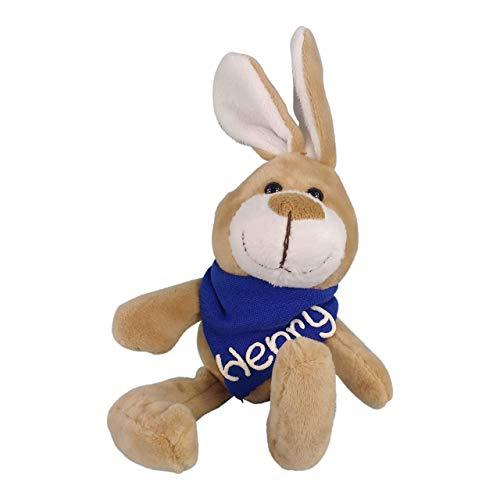 Kuschelhase mit Namen am blauem Halstuch - Kuscheltier Hase personalisiert - Personalisiertes Kuscheltier - Personalisiertes Ostergeschenk - Stofftier mit Wunschbeschriftung für Jungen