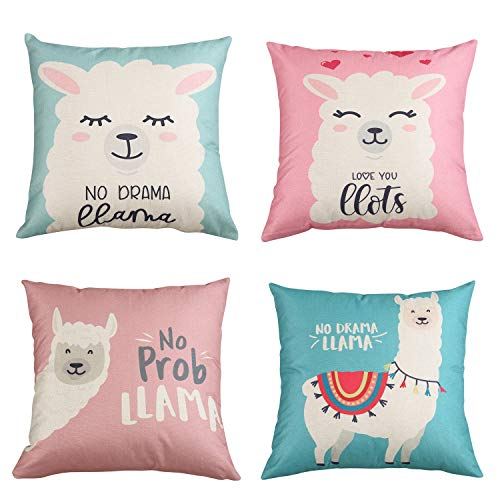 MeritChoice Llama Pillow Decorative Pillow Covers No Drama Llama Alpaca Throw Pillow Cover No Prob Llama Pillow Case 18X18 Inch Cotton Linen