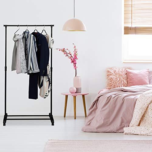 Relaxdays Fahrbarer Kleiderständer, stabile Rollgarderobe mit Ablage, Eisen, höhenverstellbar 102,5 - 180,5 cm, schwarz