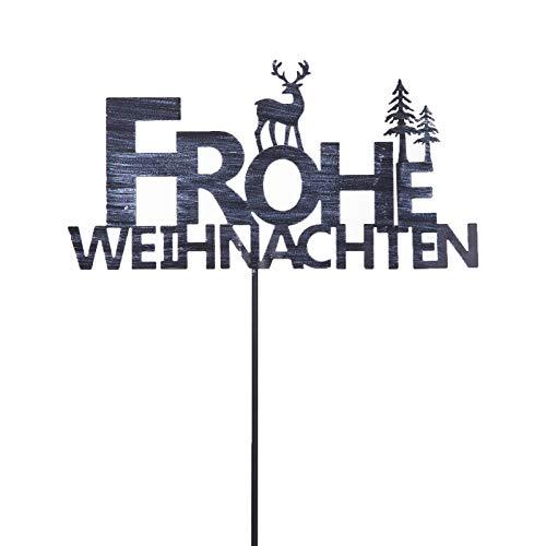 pille gartenwelt Gartenstecker Winter Frohe Weihnachten Vintage Optik 116 cm hoch Metall Retro Look 35 cm breit