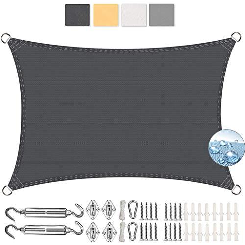 Logo Rechteckig Sonnensegel Sonnenschutz 3x7m Windschutz Wasserabweisend Sonnen Segel Polyester für Garten, Balkon, Outdoor, Terrasse, Dunkelgrau
