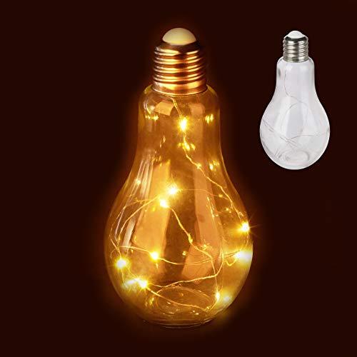 2 x Deko Glühbirne LED, Tischleuchte, batteriebetriebene LED-Deko, Glas-Glühlampe mit Lichterkette, transparent
