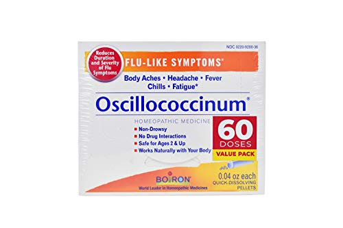 Boiron Oscillococcinum Tablets, 60 Doses Homeopathic Medicine for Flu-Like Symptoms, 30 Count (Pack of 2)