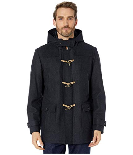 Nautica Hooded Wool Toggle Coat w/Quilted Lining Charcoal XL