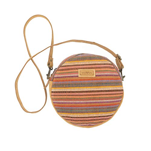 WOVEN Lea Round Side Bag multicolor Fairtrade Eco Ethno Boho Gipsy Damen Tasche Handtasche Ledertasche Rundtasche Crossbody Umhängetasche | handmade in Nepal by Women's Skills Development Organization