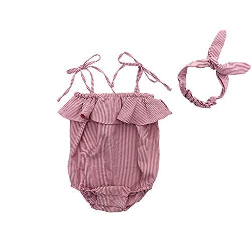 Fossen 2019 Ropa Bebe Niña Verano Bodys a Raya y Diadema para 0-24 Meses Recien Nacido Bebé