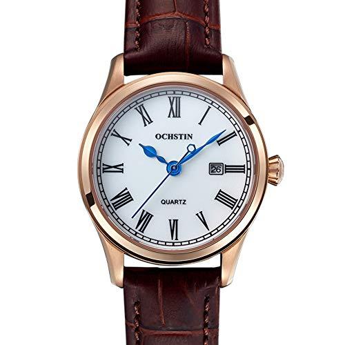 Pareja Reloj Conjunto de Regalo Marca Reloj de Pareja Correa de Cuero Cuarzo Impermeable Calendario Informal Reloj de Mujer Reloj de San Valentín Reloj de Regalo-C