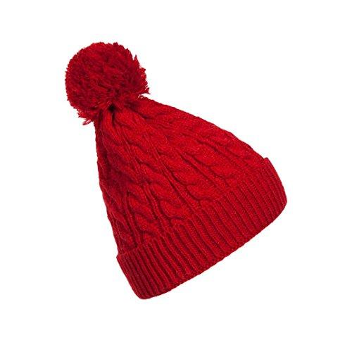 hunpta Mujer Gorro Cálido De lana de gorro de Crochet planta artificial Fur Tapas