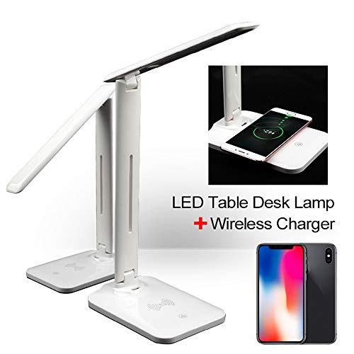 QI draadloze oplader, 2-in-1 LED bureaulamp Multi-Function Reading Lamp met DC 5V USB-poort opladen voor de mobiele telefoon opladen