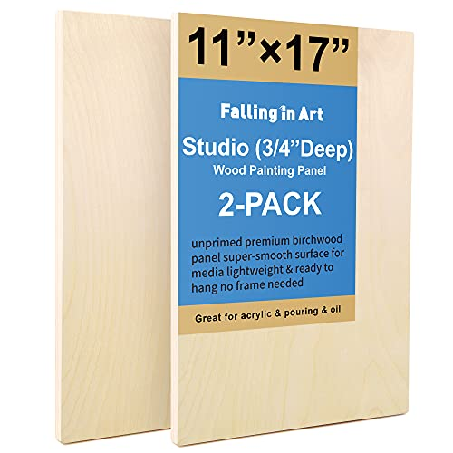Unfinished Birch Wood Canvas Panels Kit, Falling in Art 2 Pack of 11x17'' Studio 3/4'' Deep Cradle Boards for Pouring Art, Crafts, Painting, and More
