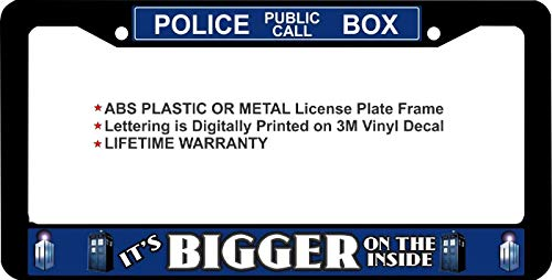 "First Rober Dr. Who It's Bigger ON The Inside Police Public Call Aluminum Alloy License Plate Frame Black Metal 12"" X 6"""