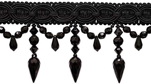 Black beaded fringe