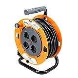 TM Electron TMUAD250 - Cable de alimentación en Bobina Enrollable de 50 Metros con 4 Tomas, Color Naranja