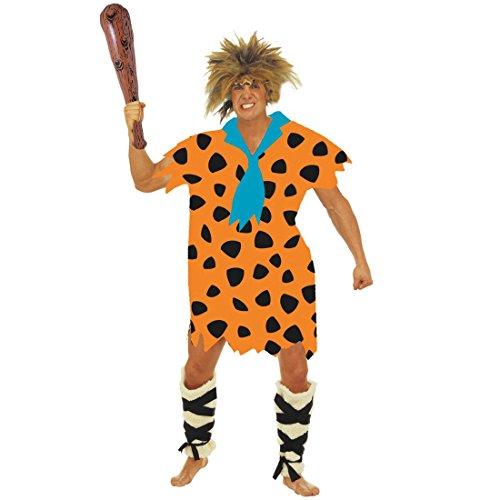 NET TOYS Fred Feuerstein Kostüm Herrenkostüm XL 54/56 Urmensch Höhlenmensch Steinzeit Verkleidung Flinstones Karnevalskostüm Neandertaler Faschingskostüm