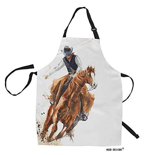 HGOD Designs Delantal de cocina vaquero, acuarela, vaquero, montar a caballo, para mujer, hombre, para cocina, jardinería, baberos...